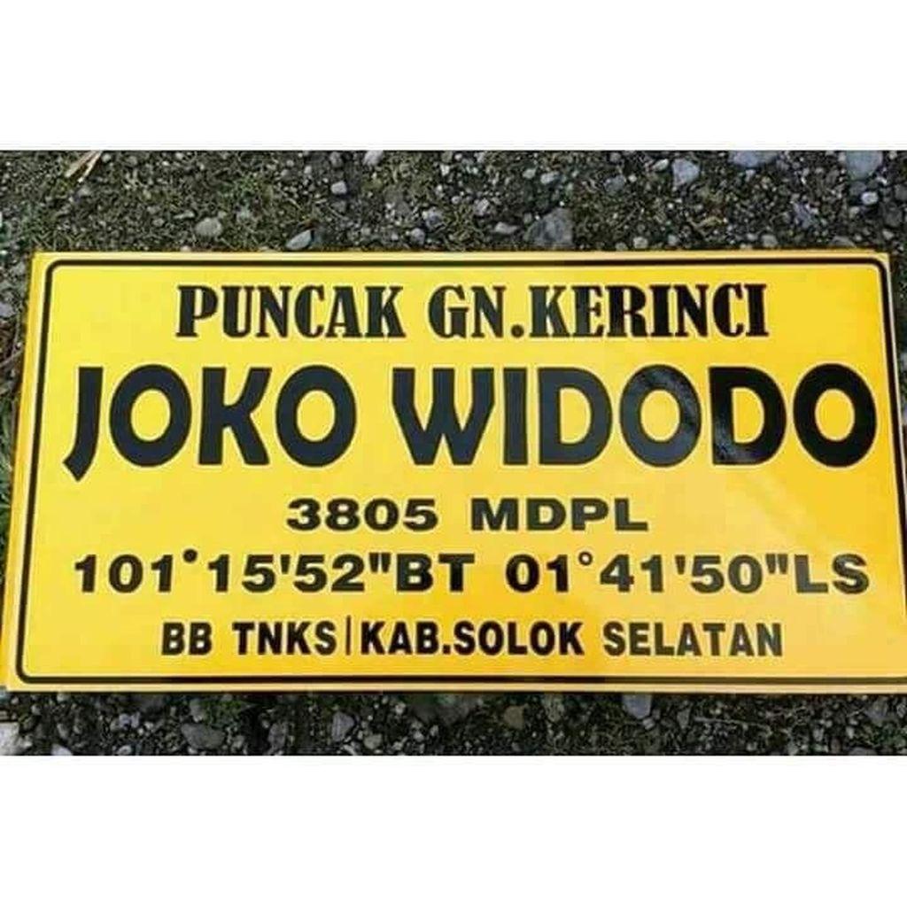 Viral Puncak Kerinci Ganti Nama Jadi Joko Widodo, Begini Faktanya