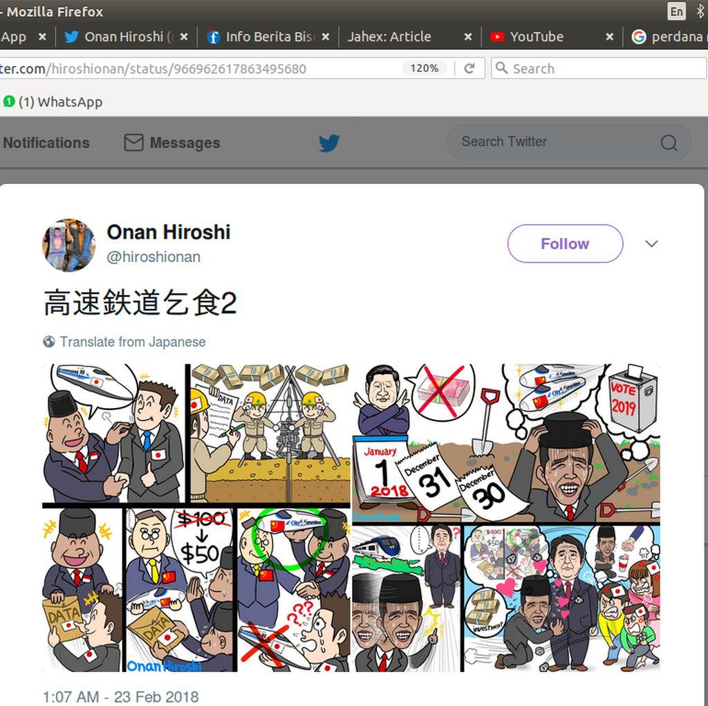 Netizen Ramai Soal Sindiran Proyek Kereta Cepat Komikus Jepang