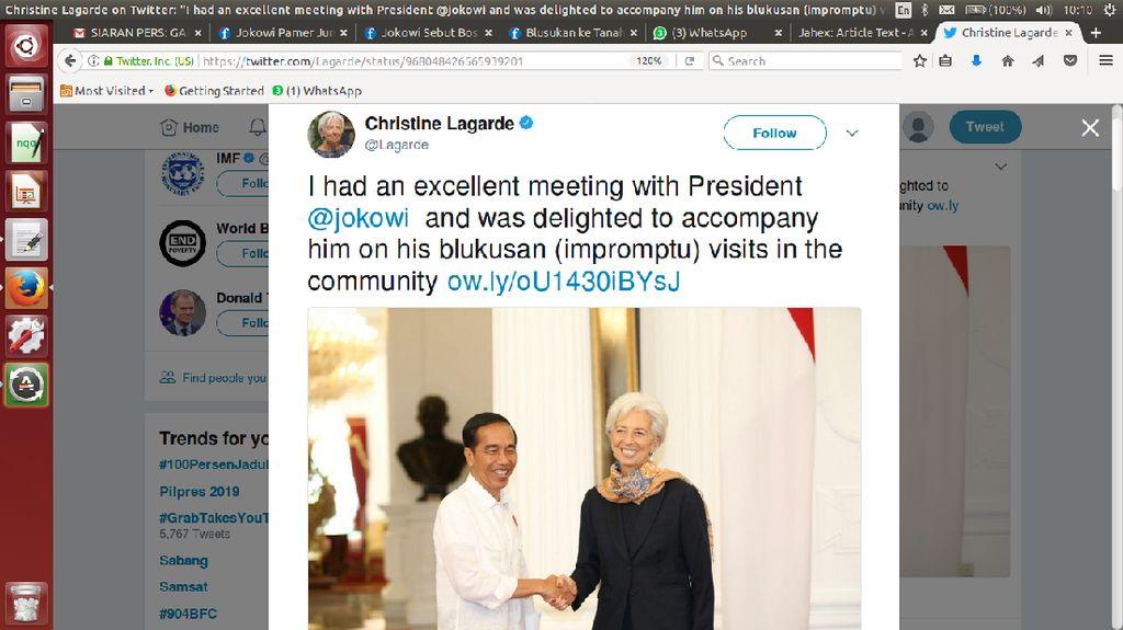 Diajak Jokowi ke Tanah Abang, Bos IMF Sebut Blusukan Jadi Blukusan