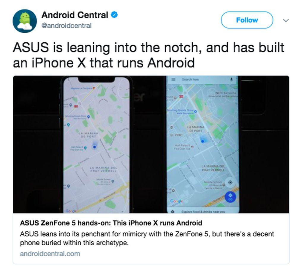 Media Android Central menurunkan judul Zenfone 5 adalah iPhone X yang menjalankan Android. Foto: istimewa