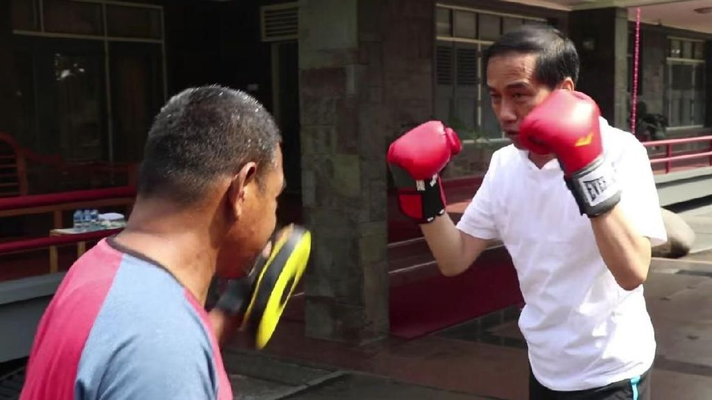 Video Aksi Jokowi Berlatih Tinju dengan Ajudan