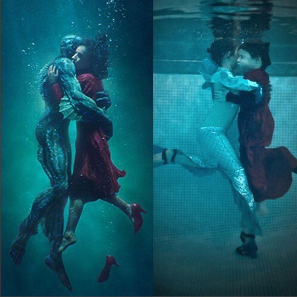 Setiap tahun, keluarga ini membuat foto dengan meniru adegan film nominasi Oscar untuk kategori Best Picture. Ini adalah adegan pada film Shape of Water. (Foto: Instagram)