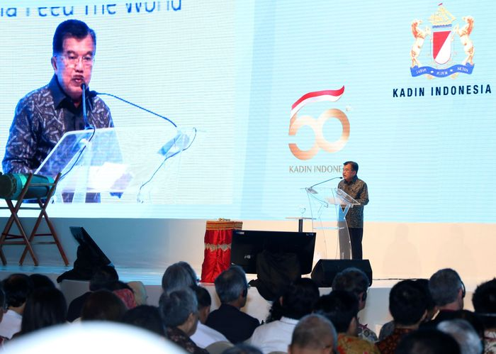 JK memberikan sambutan saat membuka Jakarta Food Security Summit 2018 di JCC, Senayan, Jakarta, Kamis (8/3/2018). Istimewa/GarudaFood.