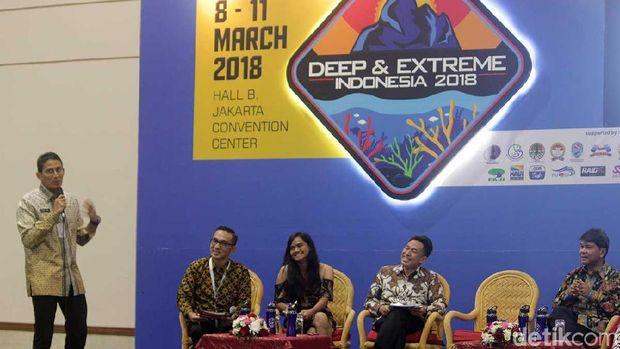 Sandiaga Uno dalam talkshow Deep and Extreme 2018 di JCC (Randy/detikTravel)