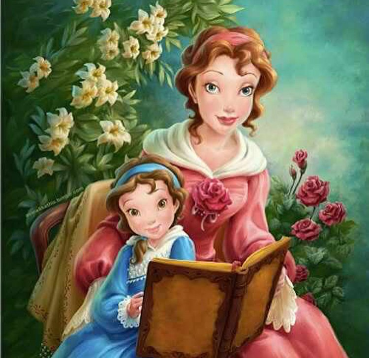 Ternyata Belle dari Beauty & The Beast udah suka baca buku dari kecil bareng ibunya nih. (Foto: Instagram/andrewsgrotto)