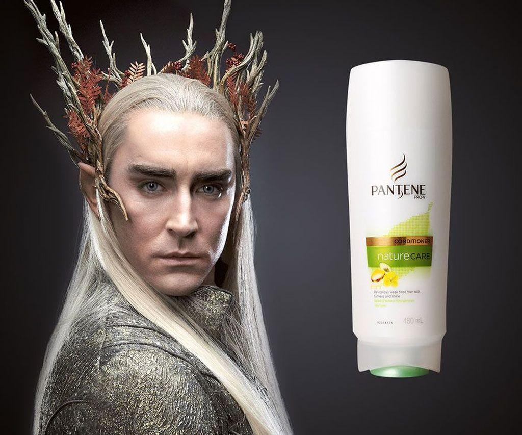 Karater Thranduil dalam film Hobbit yang memiliki rambut panjang dan lurus dijadikannya sebagai model iklan shampoo Pantene. (Foto: boredpanda)