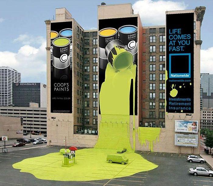 Sekilas ini seperti iklan produk cat dinding, tapi lihat lagi baik-baik. Ini adalah iklan perusahaan asuransi Nationwide. Istimewa/Boredpanda.