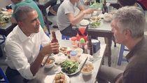 Meja Makan Tempat Obama Bersantap di Vietnam Diabadikan di Etalase