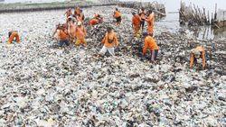 Susah Payah Bersihkan Sampah Setebal 1 Meter di Teluk Jakarta