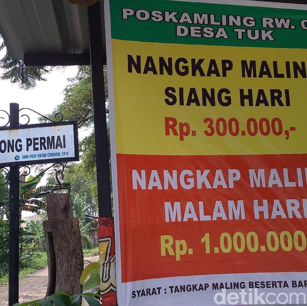 Viral, Spanduk Sayembara Tangkap Maling Berhadiah Uang di Cirebon