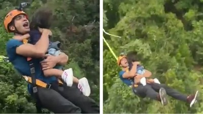 Ayah Ini Banjir Kritik Gara-gara Ajak Balitanya Bungee Jumping
