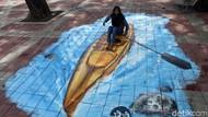 Keren! Lukisan 3D di Trotoar Danau Sunter