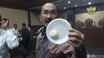 Foto: Fredrich Yunadi Pamer Bakpao Benjol Novanto di Sidang