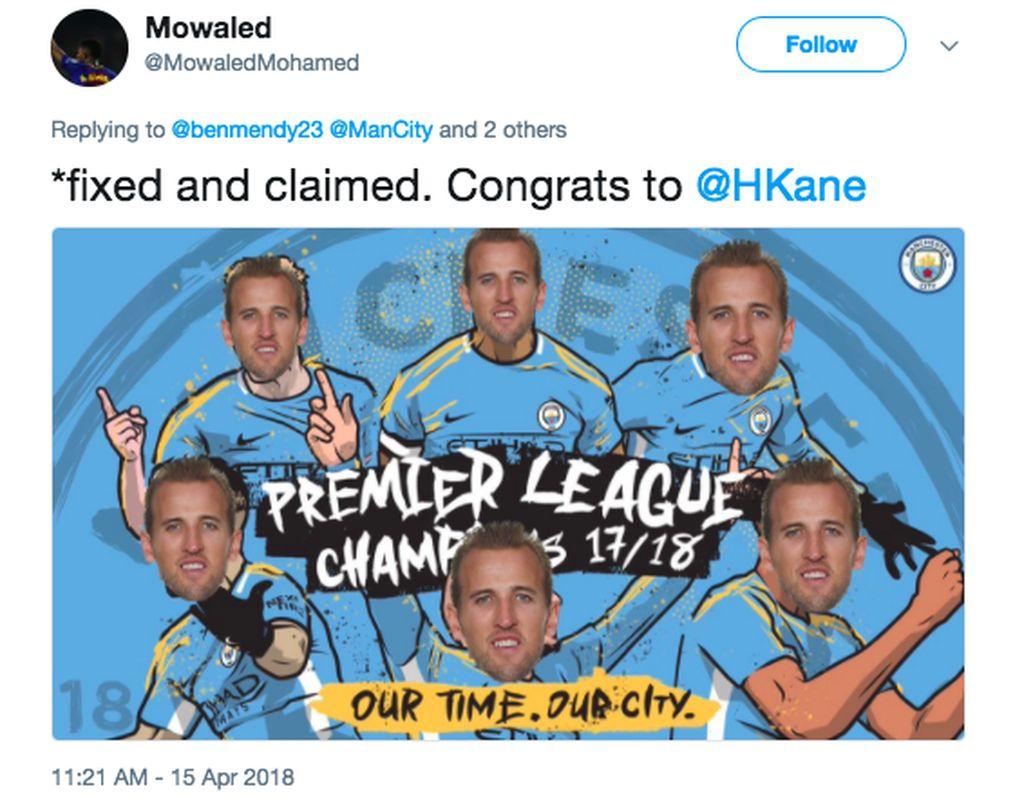 Selamat untuk Harry Kane. Digambarkan di meme ini Harry Kane berseragam Manchester City dan juara Liga Inggris. Foto: istimewa