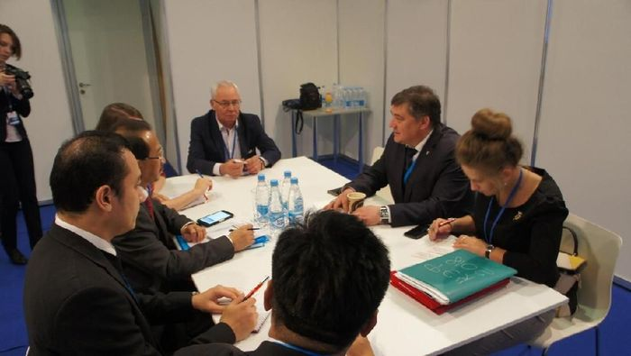 Pertemuan Dubes RI Moskow M. Wahid Supriyadi dengan Ketua Kadin Siberia Tengah Rafael ShageevFoto: Dok. KBRI Moskow