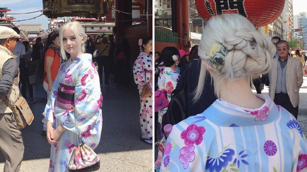 Gadis Berambut Silver dengan Kimono Jadi Viral, Wajahnya Bak Peri Cantik
