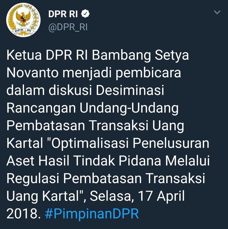Saat Twitter DPR Sebut Ketua DPR Bambang Setya Novanto