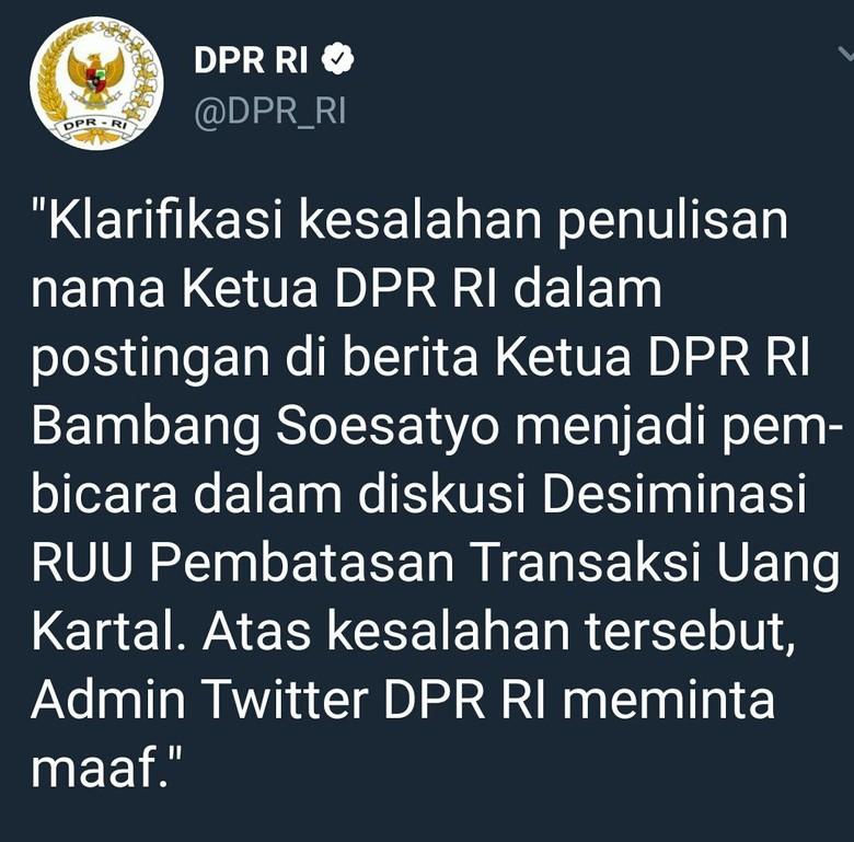 Salah Sebut Bambang Setya Novanto, Admin Twitter DPR Minta Maaf