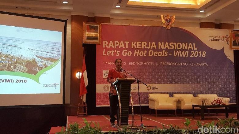 Foto: Menpar Arief Yahya di Rakernas Lets Go Hot Deals Visit Wonderful Indonesia (ViWI) 2018 Program Quick Wins, Jakarta (Syanti/detikTravel)