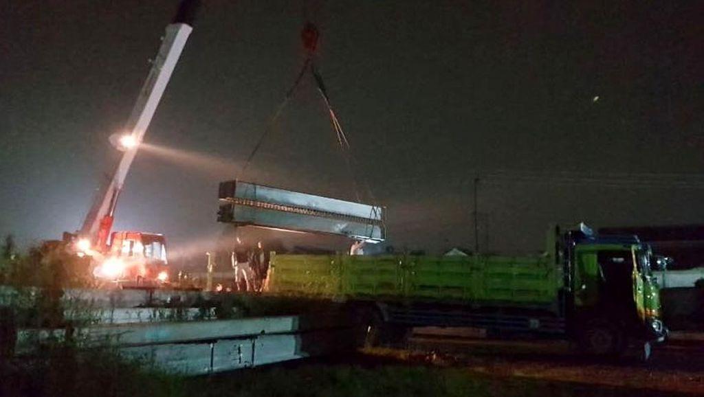Perbaikan Jembatan Babat yang Ambrol Langsung Dikebut