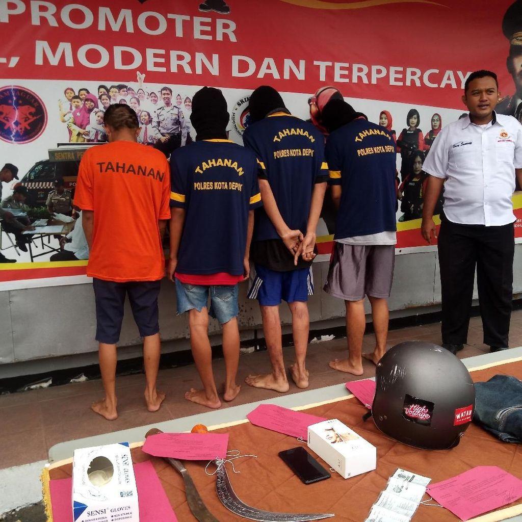 Polisi Tetapkan 4 Orang Tersangka Bandit Bercelurit di Depok