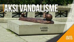 Patung Messi Tinggal Menyisakan Bagian Kaki