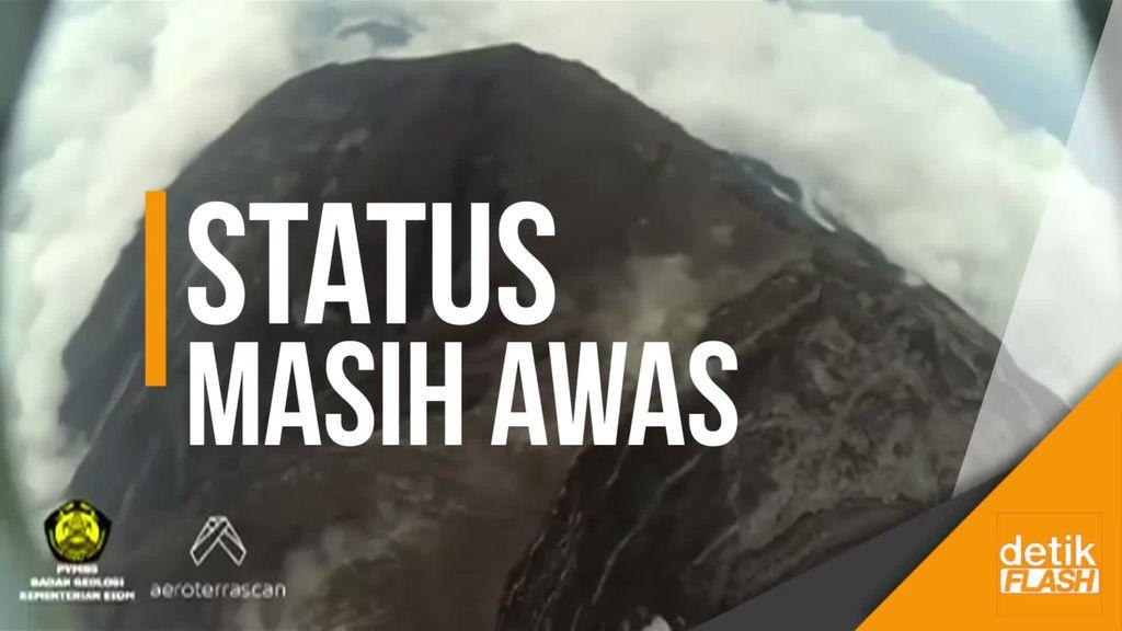 Penampakan Lahar Dingin di Puncak Gunung Agung dari Lensa Drone
