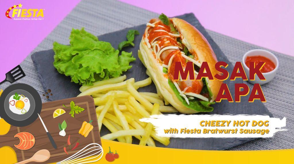Mudahnya Membuat Cheezy Hot Dog with Fiesta Bratwurst Sausage