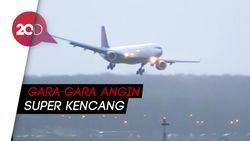 Menegangkan! Pesawat Batal Mendarat Karena Angin Kencang