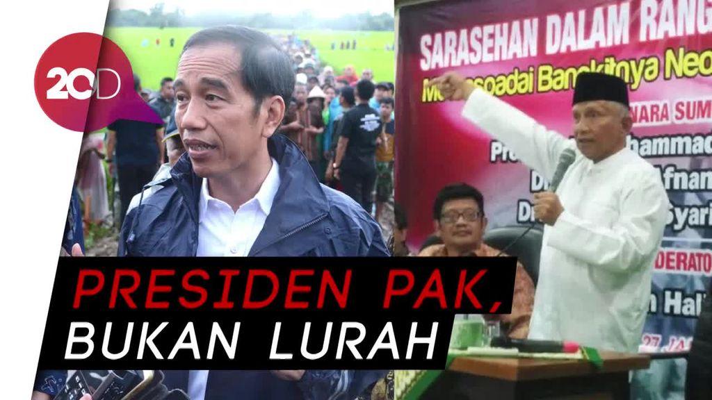 Astaga! Amien Rais Sebut Jokowi Lurah Negeri