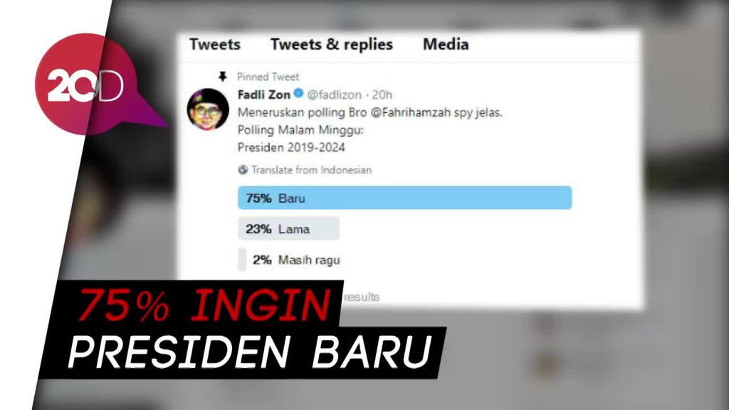 Bikin Poling Publik Ingin Presiden Baru, Fadli Zon: Ini Pertanda