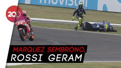 Momen  Marquez Membuat Rossi Terjatuh