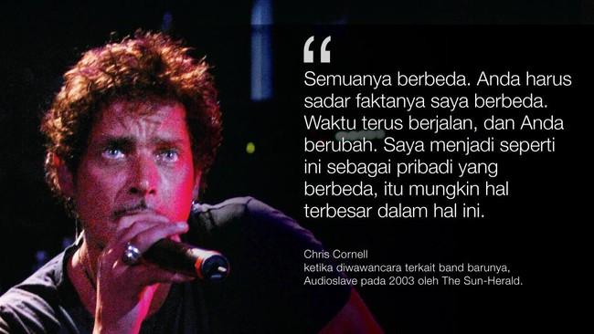 <p>Pentolan grup band Soundgarden dan Audioslave, Chris Cornell meninggal dunia pada Rabu (17/5) di Detroit.</p>
