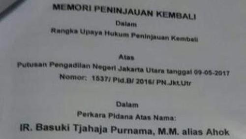Ahok Ajukan PK Penistaan Agama