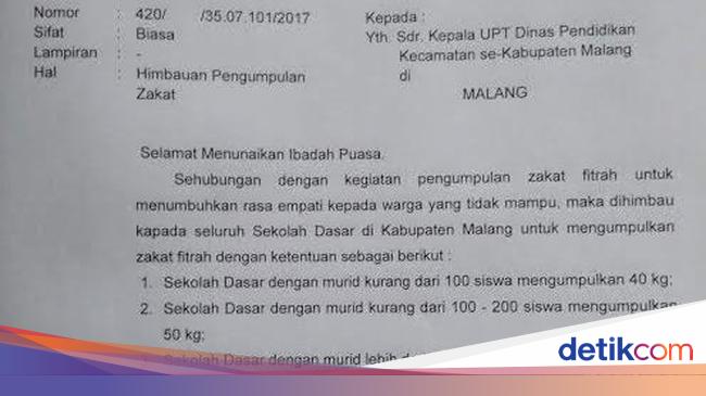 Dindik Kabupaten Malang Akhirnya Tarik Edaran Wajib Zakat