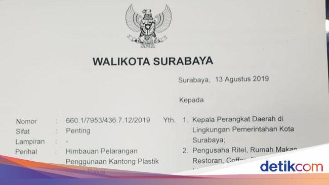 Larang Penggunaan Kantong Plastik Di Surabaya Ini Lima
