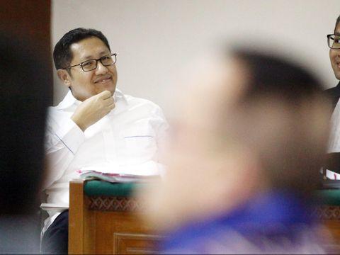 Anas Urbaningrum di sidang Tipikor Jakarta, Kamis (7/8/2014).