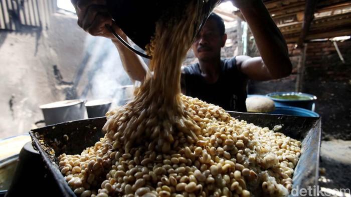 Seorang perajin tempe di kawasan Pasar Minggu Jakarta Selatan, Senin (26/8/2013) terlihat masih beraktifitas seperti biasa meski harga kedelai impor melonjak sangat tinggi. Harga kedelai import naik ke level tertinggi sejak Juni 2013 lalu. Sekitar hampir 90 persen kedelai kita yang digunakan untuk produksi tempe dan tahu adalah import. Para pengrajin tempe tahu menjerit dan bahkan hampir tak berproduksi. File/detikFoto.