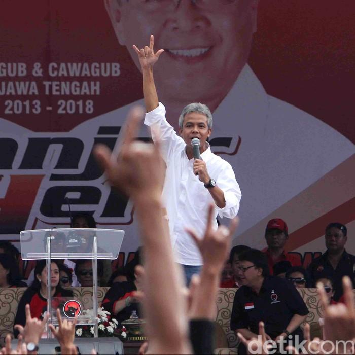 Kampanye Terbuka Ganjar Pranowo di Semarang yang dihadiri Puan Maharani, Megawati, dan Tjahyo Kumolo. File/detikFoto.