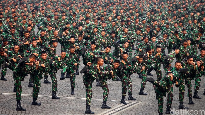 Prajurit TNI AD melakukan aksi beladiri militer di Lapangan Monas, Jakarta, Jumat (21/6). Sebanyak 5432 Prajurit TNI AD dari berbagai kesatuan melakukan aksi beladiri militer yang dimaksudkan untuk meningkatkan profesionalisme Prajurit TNI AD. Agung Pambudhy/Detikcom. File/detikFoto.