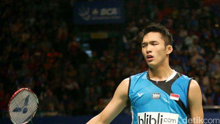 Salah satu wakil tunggal putra Indonesia di Kejuaraan Bulutangkis Asia 2018 Jonathan Christie (Agung Pambudhy/detikSport)