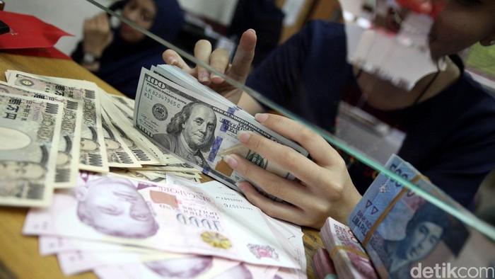 Nilai tukar rupiah hari ini mengalami koreksi harian terparahnya di 2015. Nilai tukar rupiah terhadap dolar Amerika Serikat (AS) ditutup melemah di posisi Rp 13.795 per dolar AS dibandingkan posisi pada penutupan perdagangan kemarin di Rp 13.610 per dolar AS. Petugas vallas di Money Changer Dolarindo Melawai, Jakarta Selatan menunjukan uang dolar AS, Rabu (12/8/2015). Rachman Haryanto/detikcom.