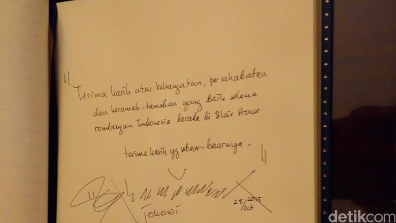 Melihat Hubungan Indonesia-AS dari Tulisan Tangan Jokowi di Blair House