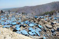 Situasi lokasi penambangan ilegal emas yang telah ditinggalkan para penambang di kawasan Gunung Botak, Kabupaten Pulau Buru, Maluku, 2011.