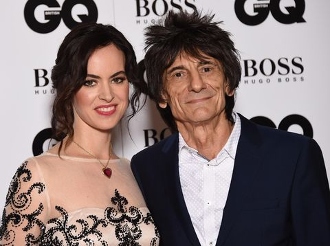 LONDON, ENGLAND - SEPTEMBER 08:  Ronnie Wood and wife Sally Humphreys attend the GQ Men Of The Year Awards at The Royal Opera House on September 8, 2015 in London, England.  (Photo by Gareth Cattermole/Getty Images)