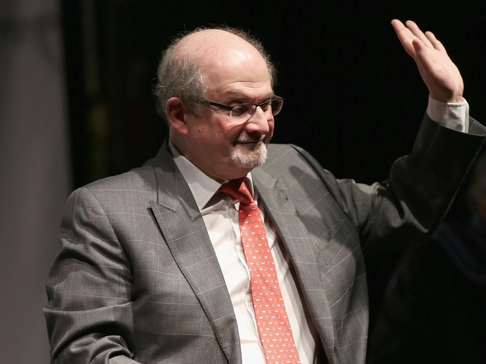NEW YORK, NY - DECEMBER 10:  Novelist Salman Rushdie speaks onstage at the Norman Mailer Center 7th Annual Awards ceremony and celebration at Pratt Institute on December 10, 2015 in New York City.  (Photo by Bennett Raglin/Getty Images for Norman Mailer Center, Inc.)