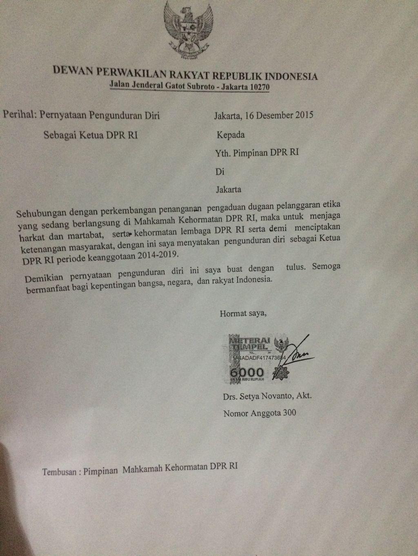 Ini Isi Lengkap Surat Pengunduran Diri Setya Novanto