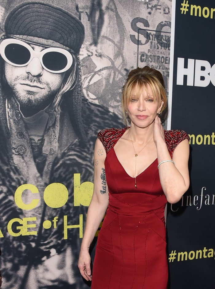 HOLLYWOOD, CA - APRIL 21:  Singer/songwriter/actress Courtney Love attends HBOs Kurt Cobain: Montage Of Heck Los Angeles Premiere at the Egyptian Theatre on April 21, 2015 in Hollywood, California.  (Photo by Jason Merritt/Getty Images)