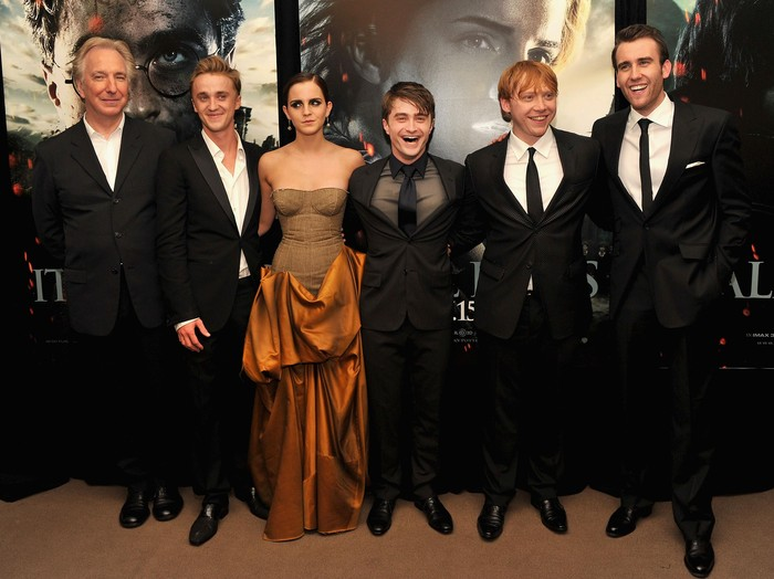 NEW YORK, NY - JULY 11:  (L-R) Alan Rickman, Tom Felton, Emma Watson, Daniel Radcliffe, Rupert Grint and Matthew Lewis attend the New York premiere of Harry Potter And The Deathly Hallows: Part 2 at Avery Fisher Hall, Lincoln Center on July 11, 2011 in New York City.  (Photo by Stephen Lovekin/Getty Images)