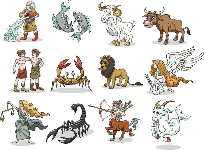 Group 12 Funny cartoons of Zodiac symbols